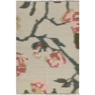 eCarpetGallery Natural Ivory Wool Hand-woven Kilim (4'7 x 6'8)