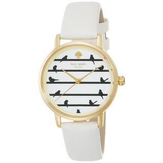 Kate Spade Women's KSW1043 'Metro' Little Birds White Leather Watch