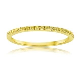 14K Yellow Gold Band with Yellow Diamonds Half Way Around