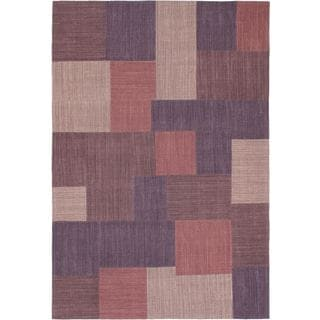 ecarpetgallery Mosaico Kilim Purple Wool Hand-woven Rug (6'7 x 9'10)