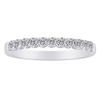 14K White Gold Wedding Band with 0.35 Ct. Diamonds