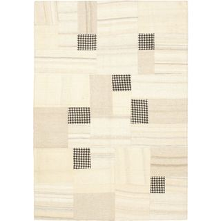 ecarpetgallery Ivory Wool Hand-woven Mosaico Kilim (4'7 x 6'7)