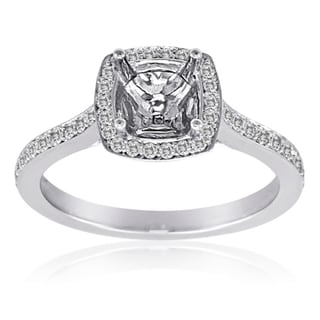 14K Gold Halo Semimount Engagement Ring to fit a 6mm x 6mm Cushion Center Stone