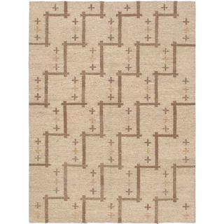 eCarpetGallery Izmir Kilim Ivory/Brown Cotton/Wool Hand-woven Rug (4'10 x 6'6)