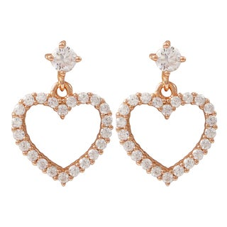 Luxiro Gold Finish Sterling Silver Cubic Zirconia Heart Children's Earrings