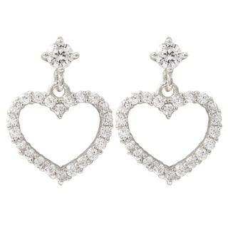 Luxiro Gold Finish Sterling Silver Cubic Zirconia Heart Children's Earrings