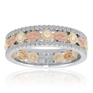 14K White, Rose, & Yellow Gold Band with White, Pink, & Yellow Diamonds