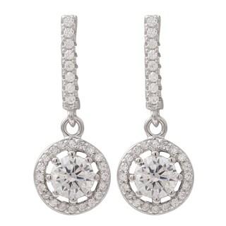 Luxiro Sterling Silver Cubic Zirconia Circle Dangle Earrings