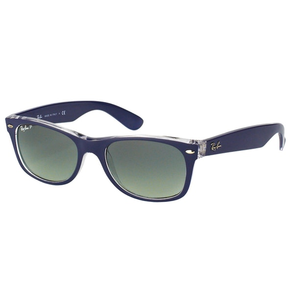 4070b7866a4 Ray-Ban Unisex RB 2132 New Wayfarer 6053M3 Top Blue on Transparent Plastic  Sunglasses