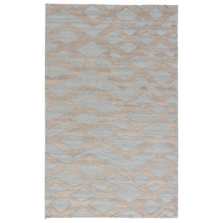 Youth Tribal Pattern Blue/ Grey Wool and Viscose Area Rug (8' x 11')