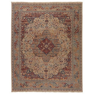 Classic Oriental Pattern White/ Pink Wool Area Rug (8' x 10')