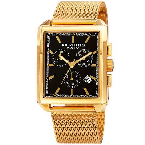 Akribos XXIV Men's Quartz Chronograph Date Gold-Tone/Black Bracelet Watch