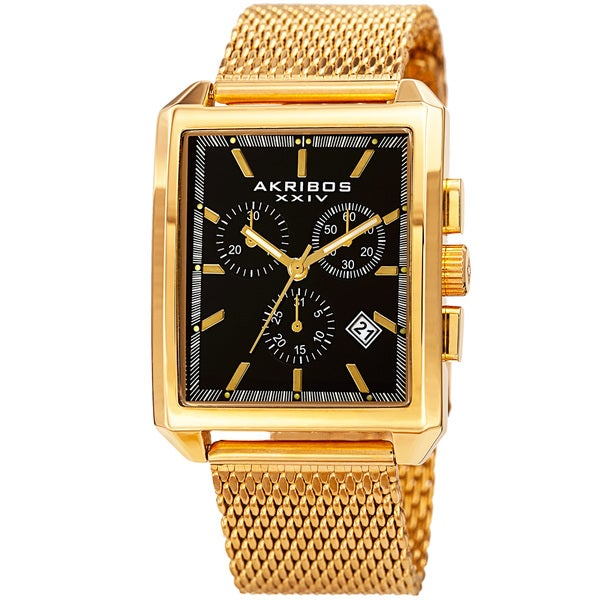 Akribos XXIV Men's Quartz Chronograph Date Gold-Tone/Black Bracelet Watch w/Gift Box