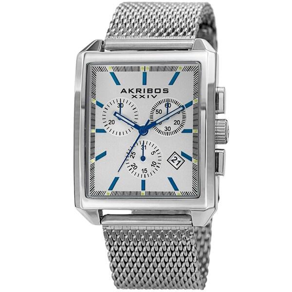 Akribos XXIV Men's Quartz Chronograph Date Silver-Tone Bracelet Watch