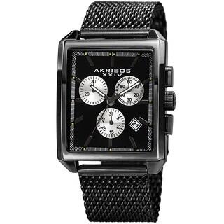 Akribos XXIV Men's Quartz Chronograph Date Black Bracelet Watch