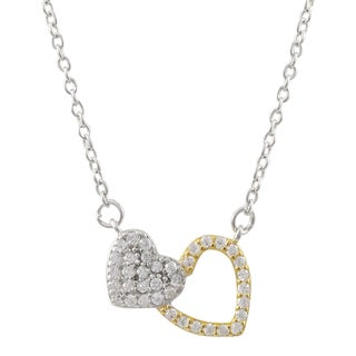 Luxiro Sterling Silver Two-tone Cubic Zirconia Hearts Children's Necklace