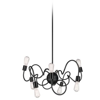 Dainolite Matte Black Steel 8-light Pendant with Vintage Bulbs