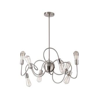 Dainolite Satin Chrome Steel 8-light Pendant With Vintage Bulbs