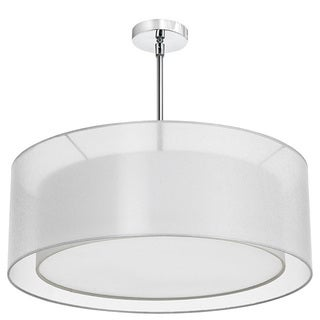 Dainolite White Steel 4-light Double Drum Pendant