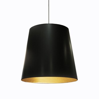 Dainolite Black on Gold 1-light Large Drum Pendant
