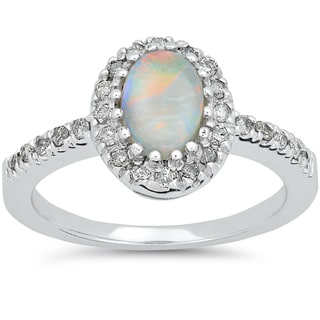 14k White Gold 1/4ct TDW Oval Opal & Diamond Halo Engagement Ring (I-J, I2-I3)