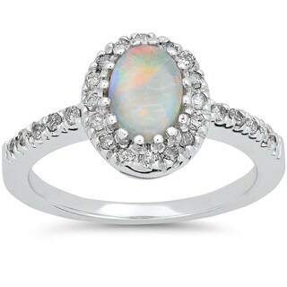 14k White Gold 1/4ct TDW Oval Opal & Diamond Halo Engagement Ring