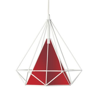 Dainolite Metal Framed Pendant With Red Shade