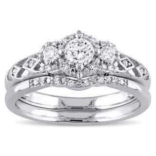 Miadora 14k White Gold 1/2ct TDW Diamond Bridal Ring Set (G-H, I1-I2)