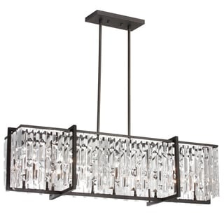 Dainolite Espresso Steel/Crystal 9-light Horizontal Chandelier