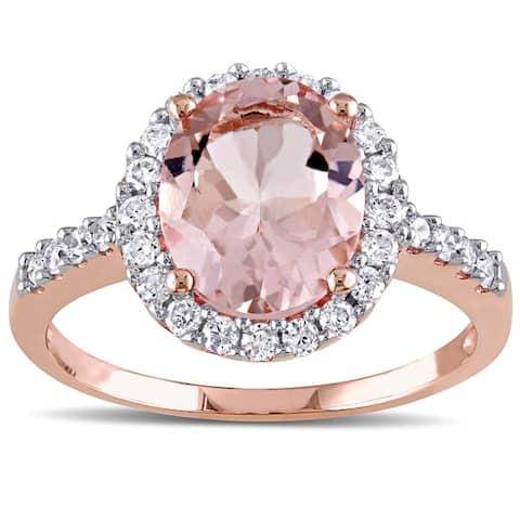 Miadora 10k Rose Gold Morganite and 2/5ct TDW Diamond Halo Ring (G-H, I1-I2) - Pink