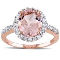 Miadora 10k Rose Gold Morganite and 2/5ct TDW Diamond Halo Ring (G-H, I1-I2)