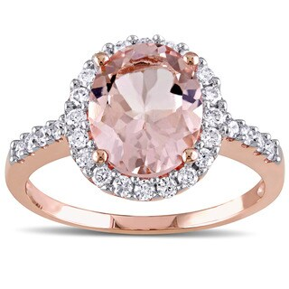 Miadora 10k Rose Gold Morganite and 2/5ct TDW Diamond Halo Ring (G-H, I1-I2)