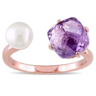 Miadora Rose Plated Silver Amethyst and Freshwater Pearl Open Cuff Ring