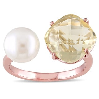 Miadora Rose Plated Silver Lemon Quartz and Freshwater White Pearl Open Cuff Ring