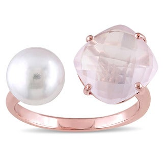 Miadora Rose Plated Silver Rose Quartz and Freshwater White Pearl Open Cuff Ring