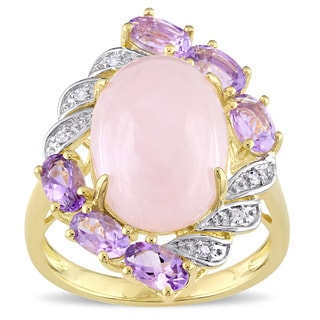 Miadora Yellow Plated Silver Rose Quartz Amethyst and Diamond Halo Accent Cocktail Ring