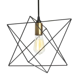 Dainolite Black Steel One-light Wire Frame Triangular Pendant