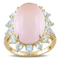 Miadora Yellow Plated Silver Rose Quartz Blue Topaz and Diamond Halo Accent Cocktail Ring - Pink