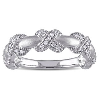 Miadora 14k White Gold 1/5ct TDW Diamond Infinity Ring