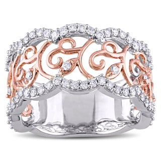 Miadora 14k Two-tone Gold 5/8ct TDW Diamond Filigree Flower Band (G-H, I1-2)
