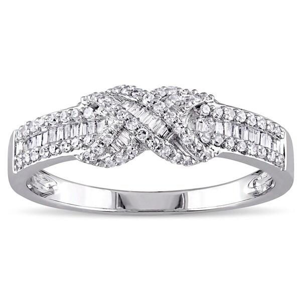 Miadora 14k White Gold 1/3ct TDW Diamond Infinity Band
