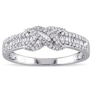 Miadora 14k White Gold 1/3ct TDW Diamond Infinity Band