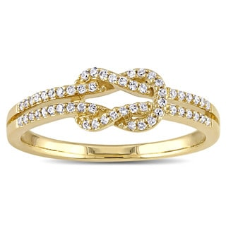 Miadora 14k Yellow Gold 1/6ct TDW Diamond Double Row Infinity Ring