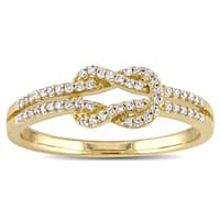 Miadora 14k Yellow Gold 1/6ct TDW Diamond Double Row Infinity Ring