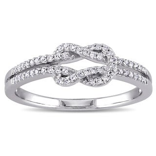 Miadora 14k White Gold 1/6ct TDW Diamond Double Row Infinity Ring