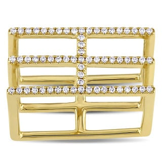 Miadora 14k Yellow Gold 1/5ct TDW Diamond Square Ring