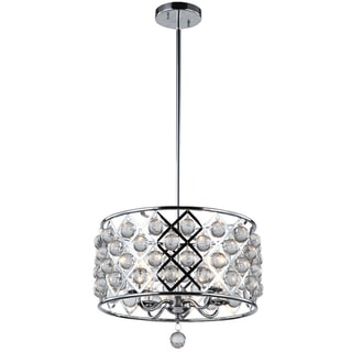 Dainolite Polished Chrome 4-light Chandelier with Crystals