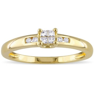 Miadora Yellow Plated Silver 1/8ct TDW Diamond Eight Stone Engagement Ring