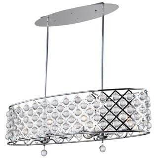 Dainolite Polished Chrome 6-light Oval Chandelier with Crystals
