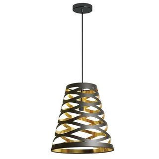 Dainolite Black/Gold Steel 1-light Cut-out Pendant with Shade